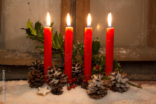 Dekoration weihnachten advent mit kerzen stock photo and royalty free images on - Dekoration advent ...