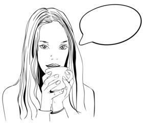 Woman portrait with speech bubble