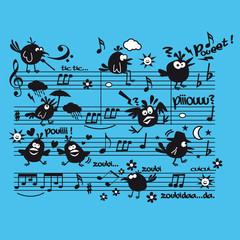 partition musique oiseau personnage concert joie