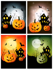 Four Halloween banners. Vector.