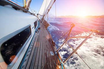Sailing regatta in the sunset light