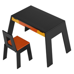 Black modern table and chair