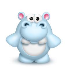 Whimsical Cute Cartoon Hippo