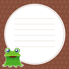 illustration of green frog with white blank