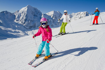 Wall Mural - Skiing, winter, ski lesson - skiers on mountainside