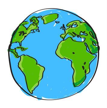 Hand drawn earth