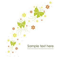 Beautiful floral background with butterflies
