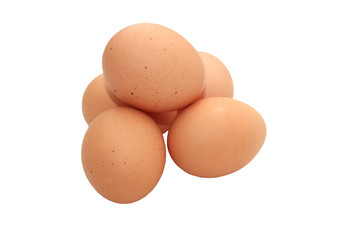 Eggs isolated on a white background using clipping path