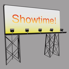billboard advertise showtime panel on black construction