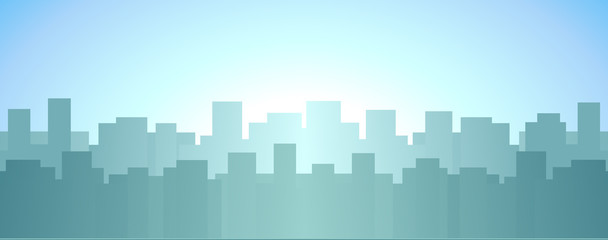 urban landscape with skyscraper, sunrise in city background