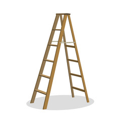 Illustration of various isolated ladders, stepladders