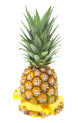 Fresh sliced ​​pineapple isolated on white background