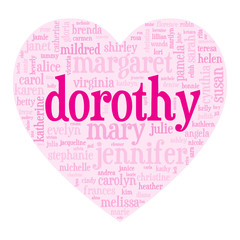 """DOROTHY"" Tag Cloud (birth girl love valentine card heart)"