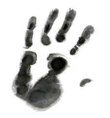 Black hand on white background