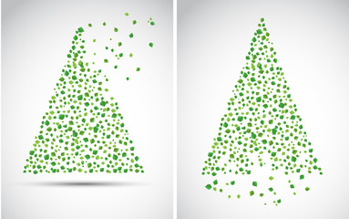 Christmas tree made from leaves. Vector