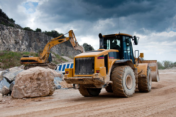 bulldozer excavator in quarry