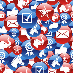 USA elections glossy icons pattern