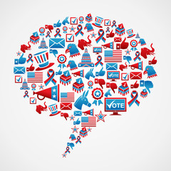 Social media US election icons concept