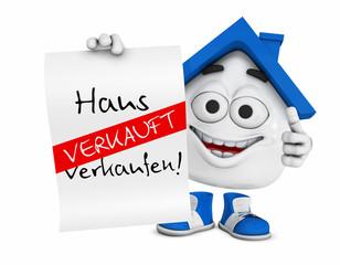 Kleines 3D Haus Blau - Haus zu verkaufen! - Verkauft