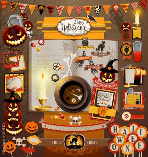 Wall mural Halloween scrapbook elements