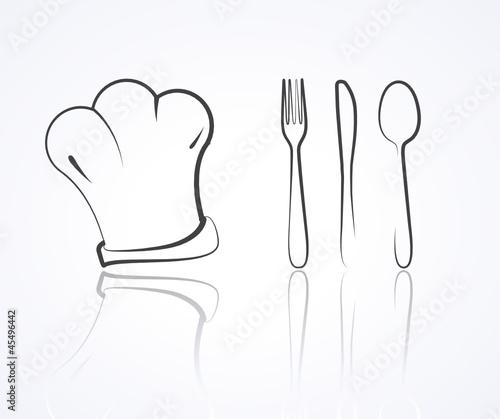 Dessin toque fourchette couteau cuillere fichier vectoriel libre de droits sur la banque d - Cuillere dessin ...