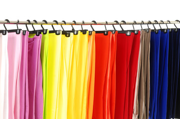 line of many colorful pants