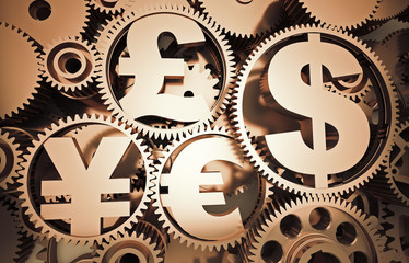Money mechanism with currency signs
