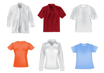 Women and men shirts detail realistic illustration