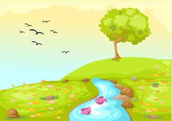 Poster de jardin Oiseaux, Abeilles landscape meadow