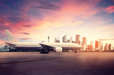 Wall Mural - Airplane and Big City