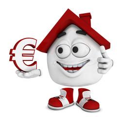 Kleines 3D Haus Rot - Euro Symbol