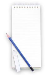a note book a pencil and eraser