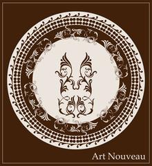 art nouveau design for decorative plate