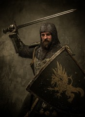 Foto op Canvas Ridders Medieval knight in attack position
