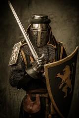 Printed kitchen splashbacks Knights Medieval knight with a sword