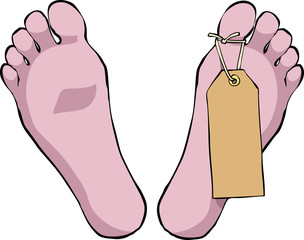 Feet with tag