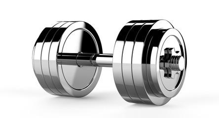 3D illustration of two chrome dumbbells over white background