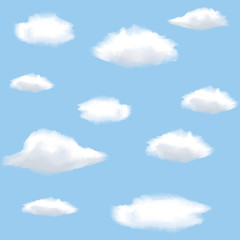 Printed roller blinds Heaven Seamless background with clouds on sky.