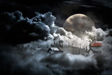 Fotobehang Volle maan Castles on the air