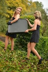 Retro women with suitcase