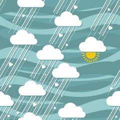 deszcz słońce serca turkusowe niebo