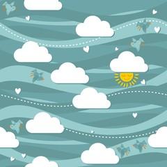 ptaki słońce serca turkusowe niebo