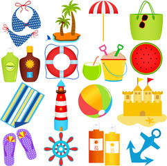 Colorful set of cute Vector Icons: Beach in the Summer Theme