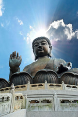 Giant Buddha sitting on lotusl. Hong Kong