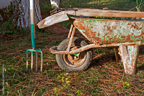 Gardening Tools In Old Rusty Wheelbarrow Stock Photo And Royalty Free Images On