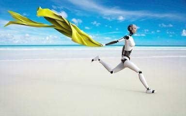 Humanoid Con Mantel Amarillo en la Playa