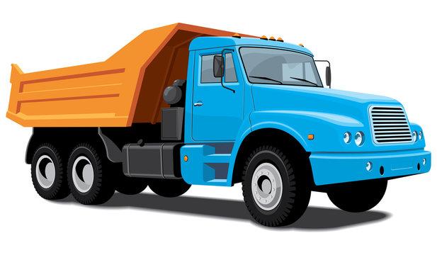 Vector isolated dump truck