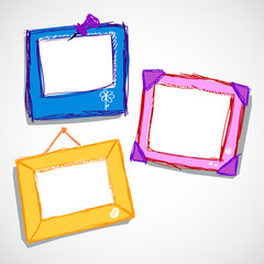 Set of cute doodle style frame