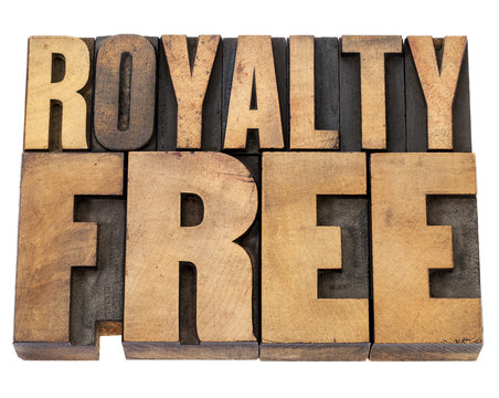 royalty free in wood type
