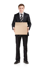 Manager in suit holding parcel box, isolated on white